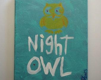 NIGHT OWL Typography Folk Art Word Painting  Green & Gold
