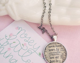Lovely Dictionary Pendant Necklace / Vintage Dictionary Word Necklace / Gifts for Her / OOAK Pendant Necklace /romanticgift for her