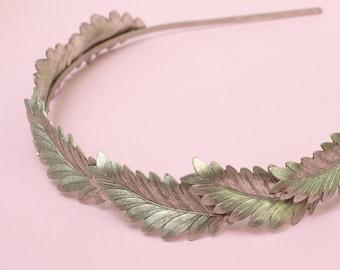 Bridal leaf crown headband silver wreath leaves tiara head piece neoclassical wedding hair accessory Grecian goddess art deco