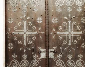 Unlock the mystery -  original fine art film photograph of an ancient wooden door. HALF PRICE SALE