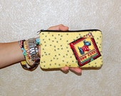 SCOTTIE DOG - Applique Wristlet Purse with Removable Strap and Interior Pocket - Handcrafted from Mary Engelbreit Fabric