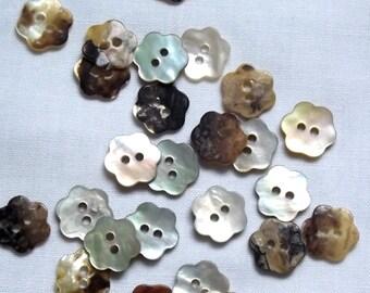 Natural Shell buttons, Flower Shape, 11mm x 3
