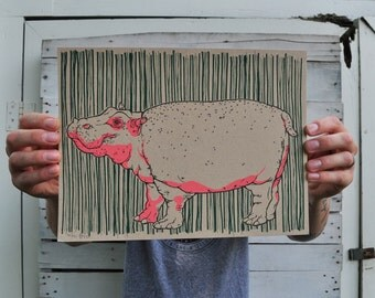 Hippo print - Hippopotamus - screenprint - silkscreen - french paper - hippo art - animal art - kids room