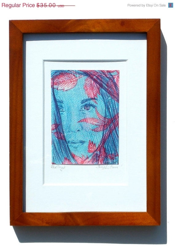1/2 PRICE SALE Original framed drawing - Blue dryad portrait, ready to hang ACEO