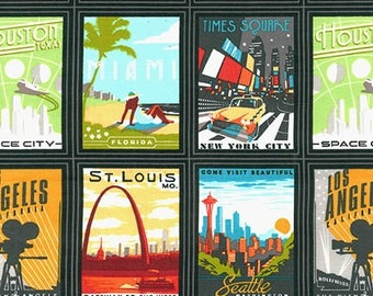 Explore America fabric by Robert Kaufman and Fabric Shoppe - Explore America Vintage Postcards in Black. You choose the cut
