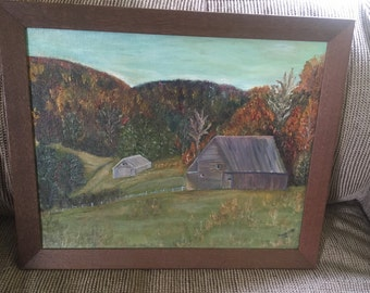 Country landscape painting with barn