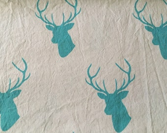 Custom Grey with Teal Deer Stag Crib Sheet Nursery Bedding READY To SHIP