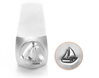 Design Stamp - Sailboat - 6mm stamped image by ImpressArt -  includes How to Stamp Metal tutorial