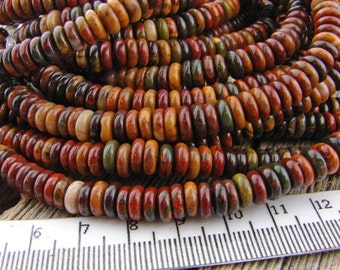 6mm Picasso Jasper beads Rondelle Heishi Wheel Disk beads Red Brown Burgundy Green Gray Earthy Rustic 6 mm Red Creek Jasper