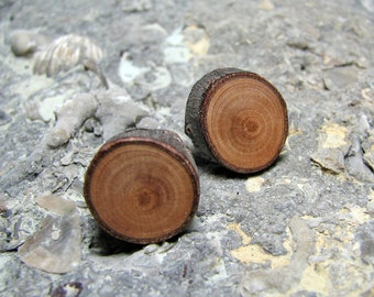 Peach Woodland Rustic Twig Wooden Stud Earrings by Tanja Sova