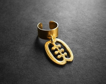 Ear Cuff, Brass Ear Cuff, Adinkra Symbol, African Ear Cuff, For Her, African Jewelry, Body Jewelry, Ese Ne Tekrema Adinkra African Earcuff