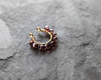 Fake Septum Ring, Fake Nose Rings, Gold Filled Septum Ring, Fake Nose Piercing, Beaded Nose Ring, Sole Fake Beaded Septum Nose Ring