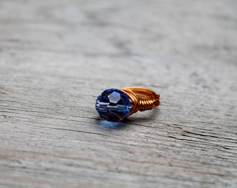 Blue Crystal Ring, Glass Crystal Ring, Copper Ring, Wire Wrapped Ring, Blue, For Her, Size 8.5, Menphis Blues Crystal Wire Ring