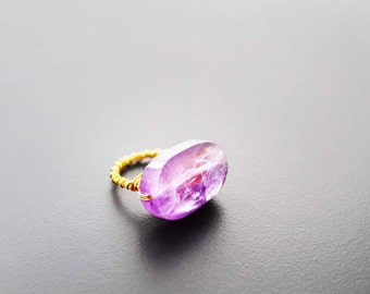 Crystal Quartz Ring, Wire Wrapped Ring, Statement Ring, Amethyst Stone Ring, Size 7, Cocktail Ring, Spirit Guide Amethyst Stone Wire Ring