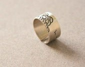 Sterling Silver Ring with Birds and Waves adjustable ring, Wideband ring, Japanese motives - Custom made ring - The Sea