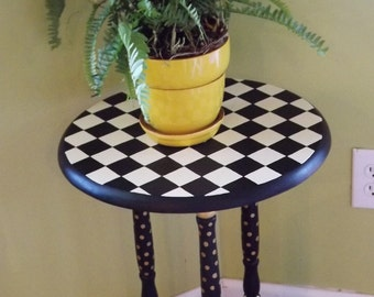 CUSTOM Painted Furniture Whimsical Table Your Colors Checks Mackenzie Childs Inspired