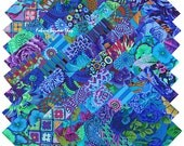 "Kaffe Fassett Collective PLUM BLUE BEAUTIES Precut 5"" Fabric Quilting Cotton Squares Westminster Fibers"