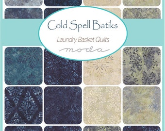 "SQ76 Moda COLD SPELL BATIKS Precut 5"" Charm Pack Fabric Quilting Cotton Squares Laundry Basket Quilts 42225PP"