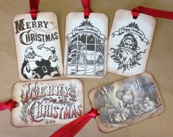 RUSTIC Christmas Gift TAGS - Vintage Inspired - Set Of 5 Assorted Vintage Santas Snowy Cabin Window Merry Christmas - Set G