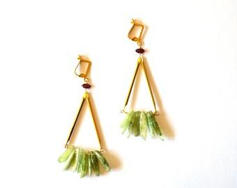 Long Gold Geometric Earrings / Long Gold Green Garnet Earrings / Antique Brass Geometric Earrings with Garnet and Kyanite Gemstones