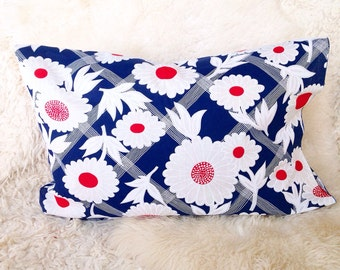 Red white floral in navy blue throw pillow cover 16x20 bamboo polka dot daisy home decor