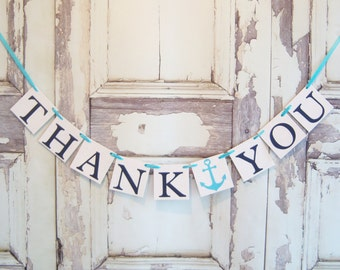 Thank you Banner, Thank you Sign, Thank you photo prop, Wedding thank you photo, Thank You banners, Thank You, nautical, beach wedding