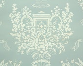 """1950's Vintage Wallpaper - Nancy McClelland """"Fountain"""" Cream Roses and Fountain Pale Blue Green"""