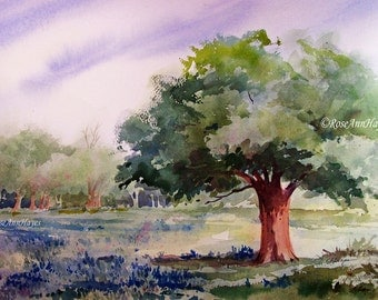 Live Oak Tree and Bluebonnets Watercolor Painting Print Landscape Texas Tree Wildflower