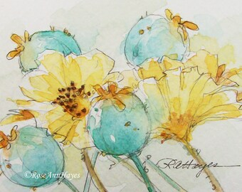 Original Watercolor Painting Poppies Floral Garden Wildflowers Flowers ACEO