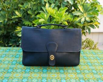 Vintage Coach NYC Navy  Willis Style Saddle Handbag Clutch Work Satchel Bag Purse