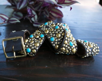 Vintage Handmade Brown Pebbled Leather Belt with Studs and