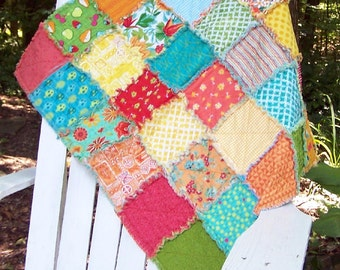 Bright tropical rag quilt