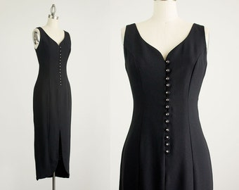 90s Vintage Black Rhinestone Button Down Maxi Dress / Size Small / Medium