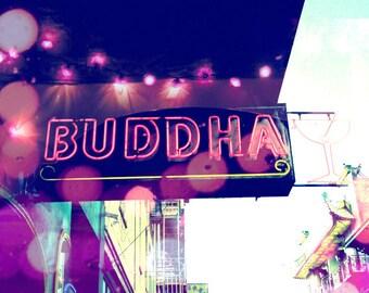 Neon sign photograph indigo cobalt blue neon pink city urban poster sparkly lights whimsical wall art 'Buddha Bar'
