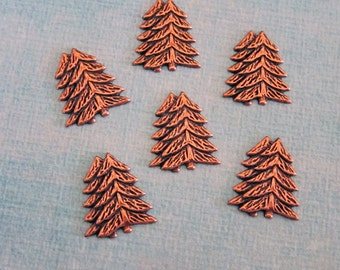 SALE 6 Small Copper Pine Tree Findings 3699L