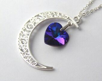 Heliotrope Swarovski Crystal Heart Moon Necklace - Purple Silver Filigree Moon Pendant - Swarovski Elements - Purple Crystal Heart & Moon