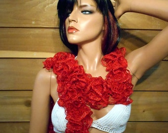 Red ruffle scarf, handmade, knitted, sexy boa style