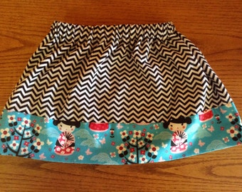 NEW Black Chevron and Cherry Blossom Girl skirt Size 5/6 ready to ship