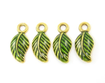 Green Leaf Charm Gold Enamel Nature Jewelry Pendant |GR10-3|4