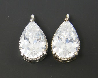 Crystal Rhinestone Teardrop Earring Findings Pendant Charms Pair of Clear Bridal Antique Drop Wedding Jewelry Supply |S20-1|2