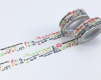Math Washi Tape • Mathematics Decorative Tape • Mathematics Tape • Numbers Tape • Card Making • Paper Crafting • Algebra (128609)