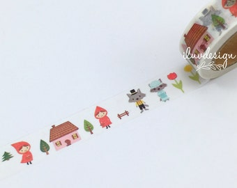 Red Riding Hood Washi Tape • Red Riding Hood Decorative Tape • Red Riding Hood Party Favors