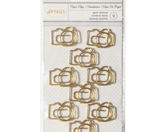Camera Paper Clips (9/Pkg) Gold Camera Paperclips • Cute Paper Clips • Planner Supplies (370822)
