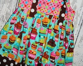 Girls Knot Dress, Birthday Dress, Cupcakes, Size 4 Ready to Ship
