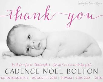 Thank you BIRTH ANNOUNCEMENT girl or boy -  Photo Baby Announcement  - Thanks  Introducing - love - Newborn thank you card - Digital - Bump