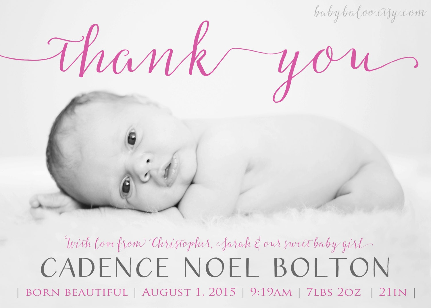 Thank you BIRTH ANNOUNCEMENT girl or boy Photo Baby – Birth Announcements and Thank You Cards