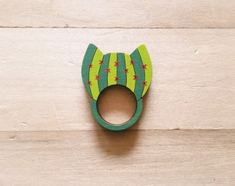 Cat-tus Wooden Ring . Cat . Cactus . Wooden Jewelry Jewellery . Cat Lover . Crazy Cat Lady . Gift for Her . Gift for Teens . Animal Lover