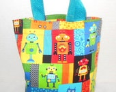 Robots Tote/Purse/Beach/Party Favor Bag/Easter Basket