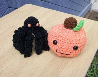 Plush Pumpkin & Squiggly Spider: Amigurumi Crochet Pumpkin and Spider. Playfood Pumpkin. Toy Spider or Black Mini Octopus. Fun Kids Toy Set