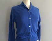 Vintage blue cardigan / lambswool cardigan / wool 1960s cardigan 60s sweater